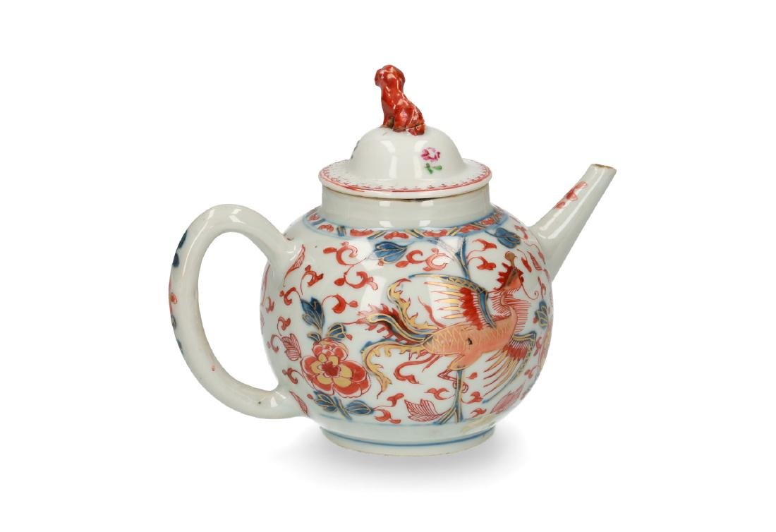 Two Imari porcelain teapots: 1) lobbed body with floral - 3