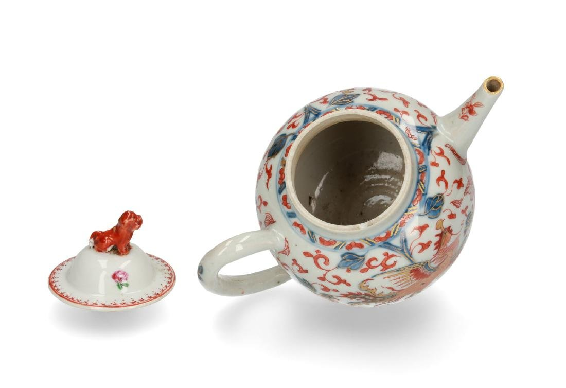 Two Imari porcelain teapots: 1) lobbed body with floral - 4