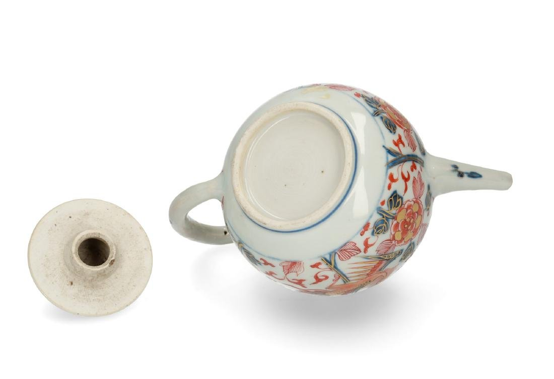 Two Imari porcelain teapots: 1) lobbed body with floral - 5