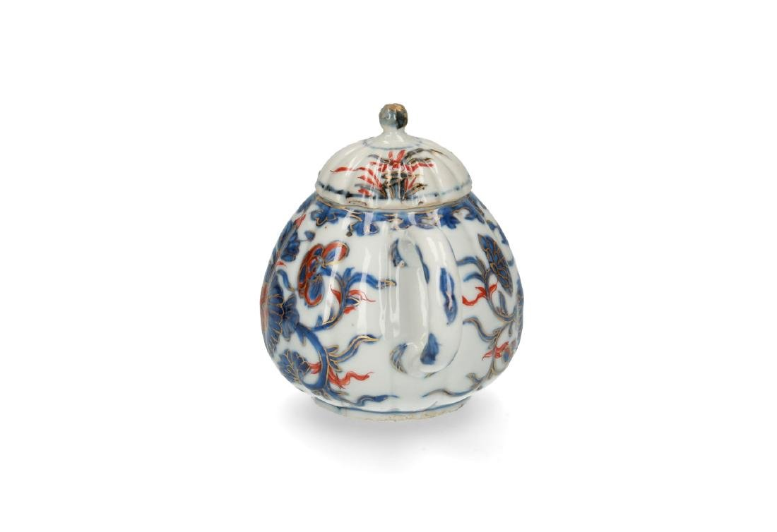 Two Imari porcelain teapots: 1) lobbed body with floral - 7