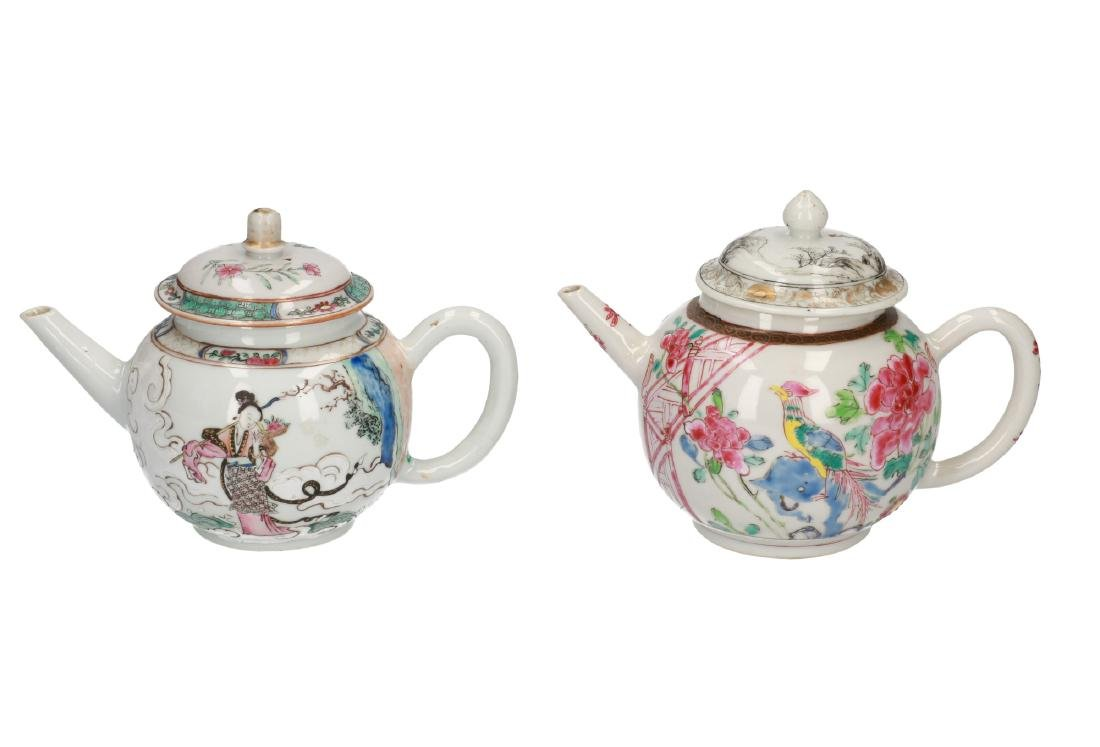 A lot of two Famille Rose porcelain teapots. One