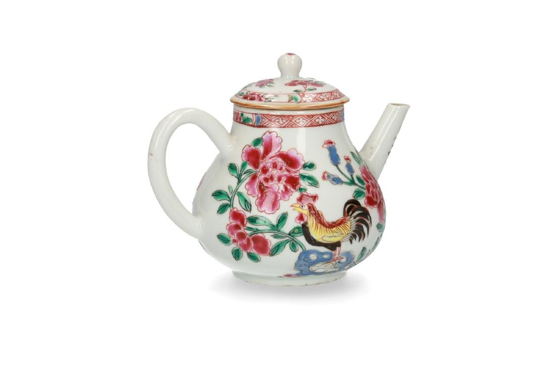 A porcelain teapot with Famille Rose chicken and - 2