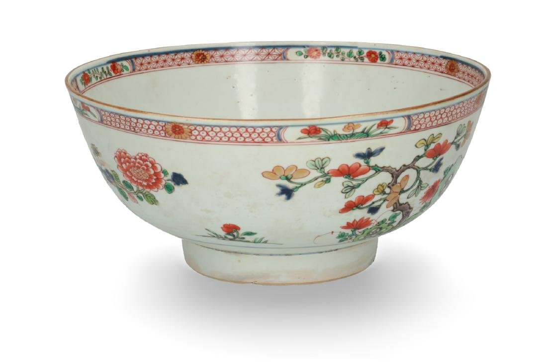 A porcelain bowl, decorated in Famille Verte colors