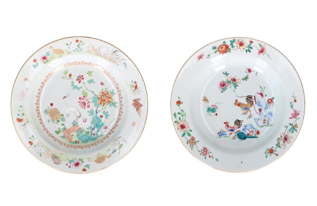 A lot of two deep Famille Rose porcelain dishes, one