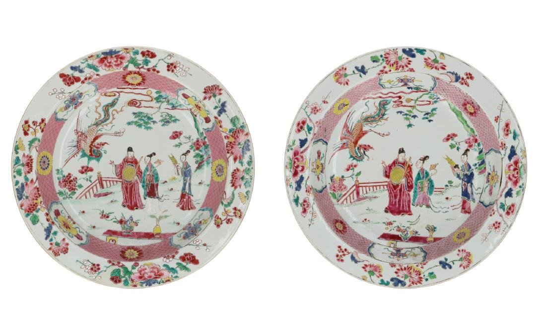A pair of large Famille Rose porcelain deep chargers