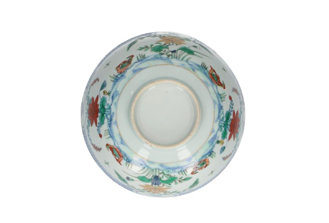 A doucai porcelain bowl, decorated with water birds and - 5