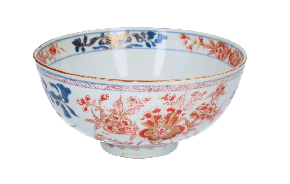 An Imari porcelain bowl decorated with flowers.