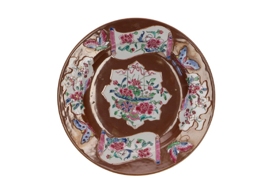 A lot of three capucine dishes with Famille Rose decor