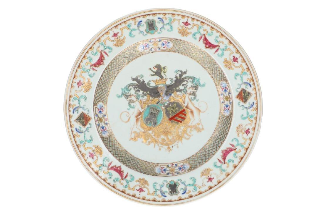 A rare Famille Verte porcelain armorial dish. Enameled
