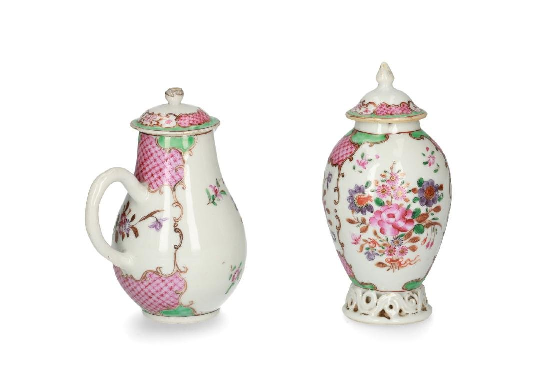 A polychrome porcelain set of a covered tea caddy and