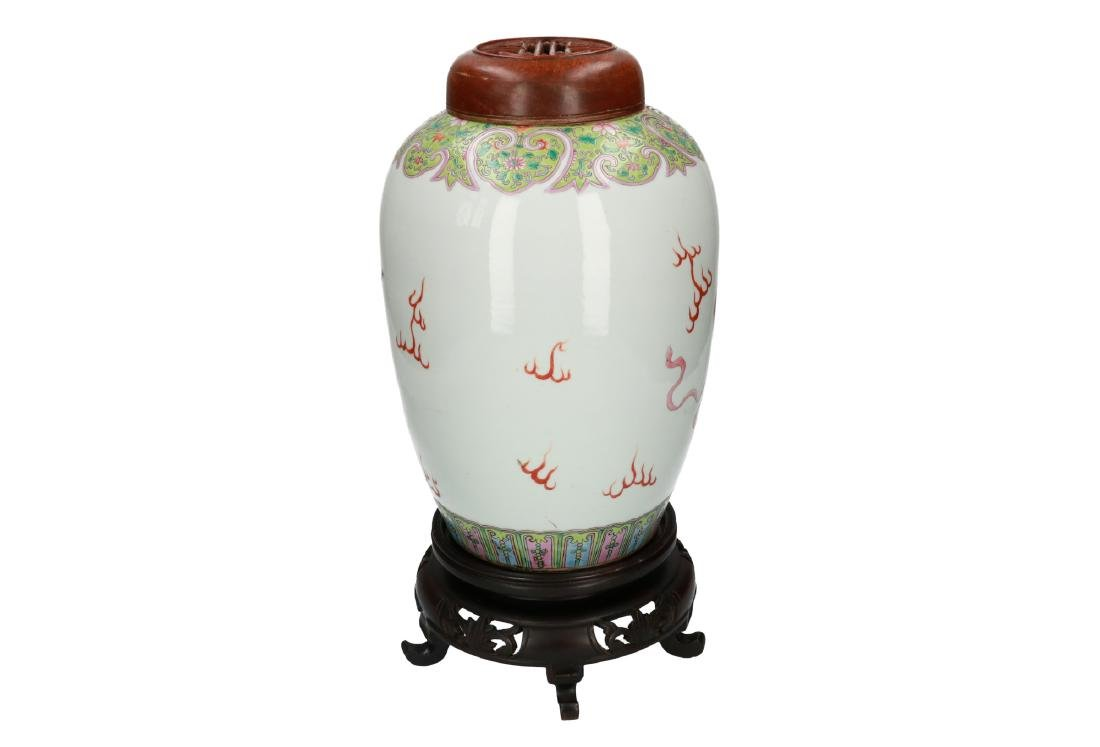 A polychrome porcelain vase, decorated with shishi with - 2