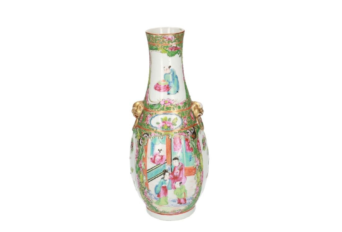 A polychrome porcelain vase, decorated with figures, - 2