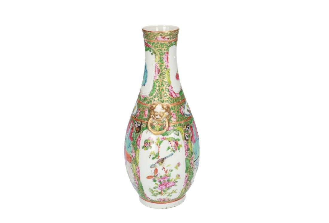 A polychrome porcelain vase, decorated with figures, - 3
