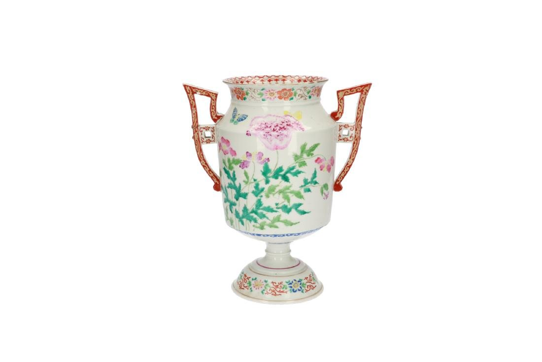 A polychrome porcelain coupe decorated with flowers and