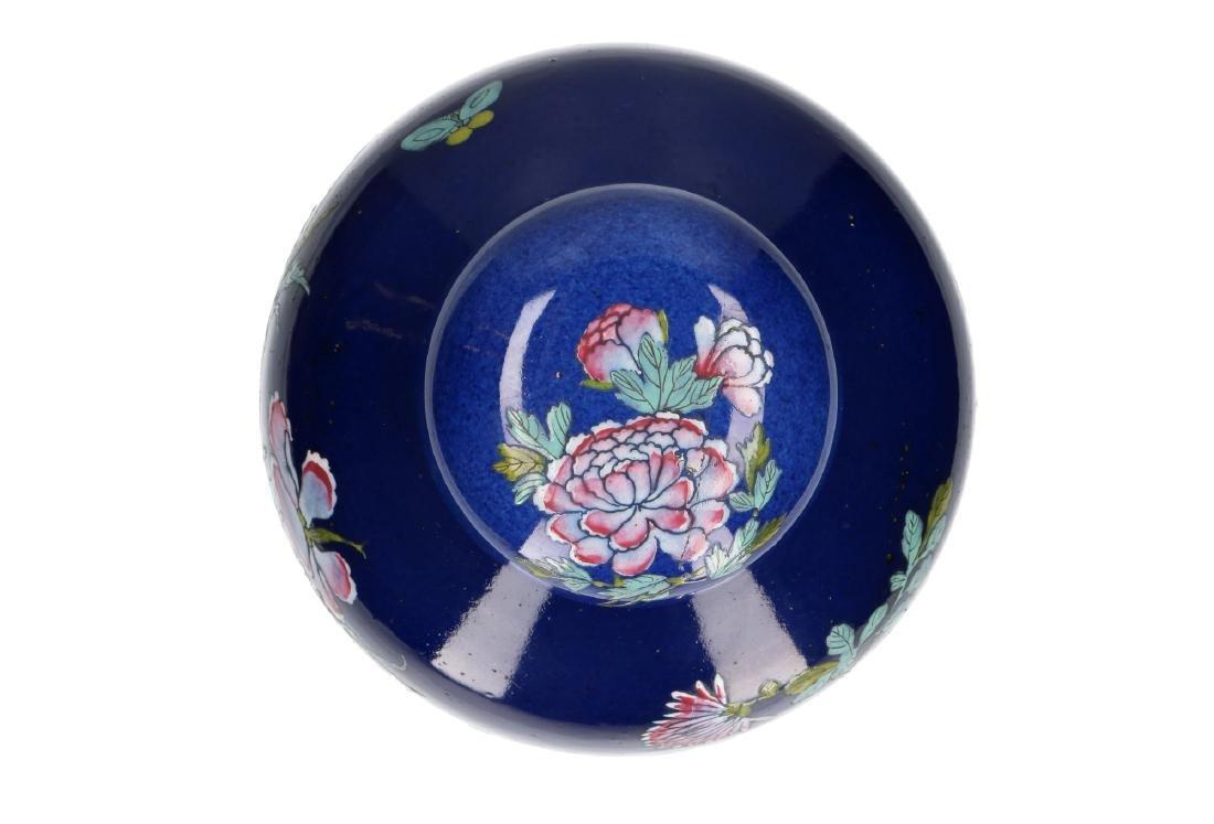 A powder-blue lidded vase with polychrome floral decor. - 4