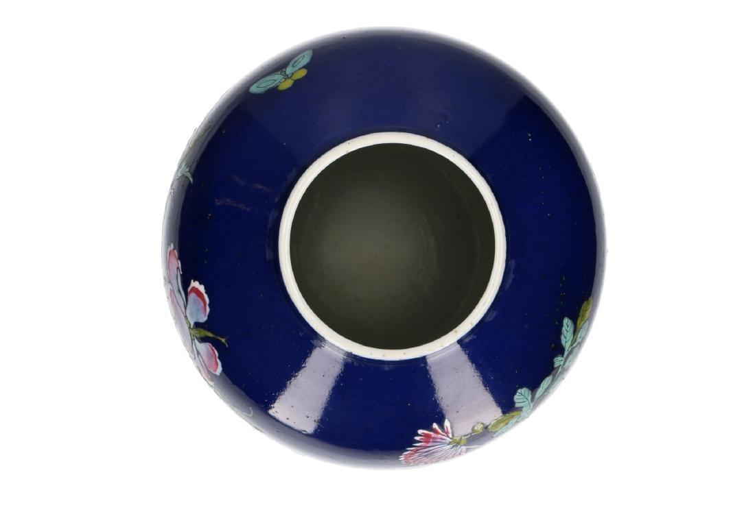 A powder-blue lidded vase with polychrome floral decor. - 5