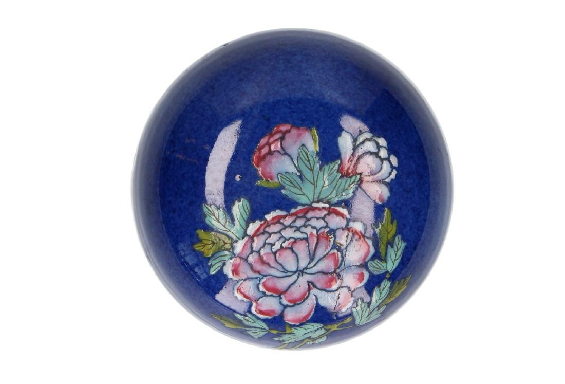 A powder-blue lidded vase with polychrome floral decor. - 8