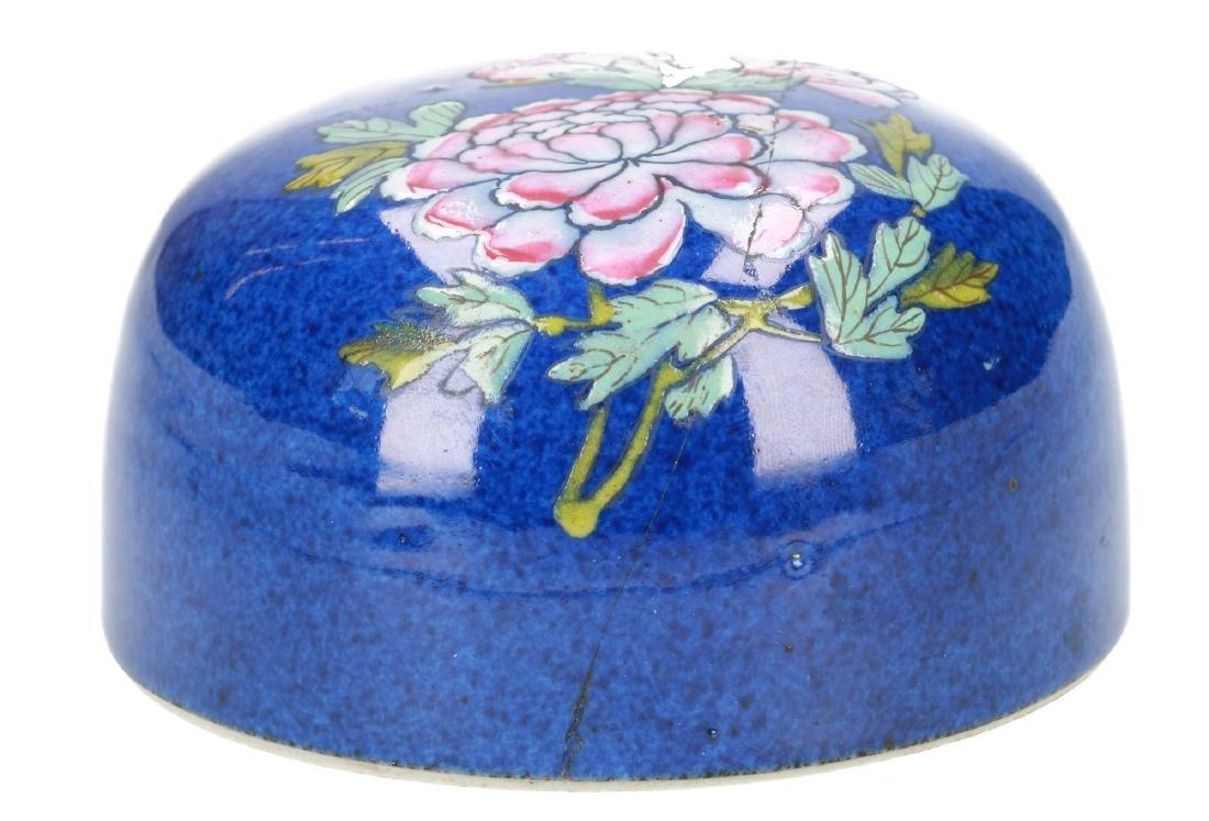 A powder-blue lidded vase with polychrome floral decor. - 9