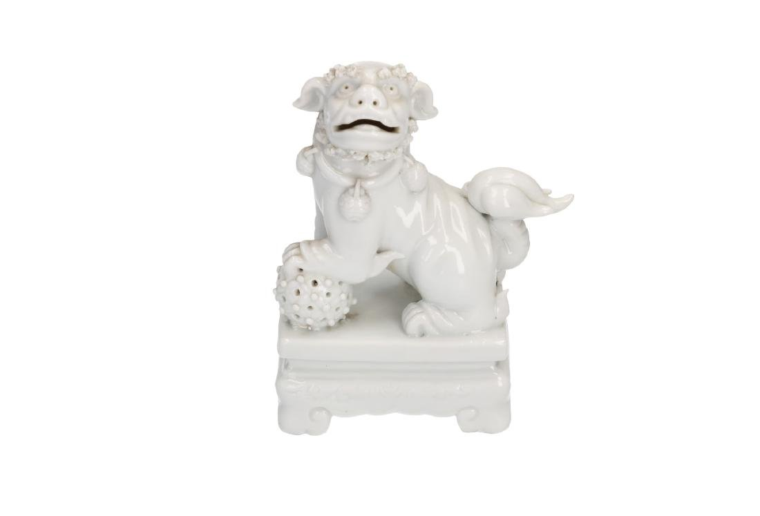 A pair of Blanc-de-Chine temple lions. Unmarked. China,