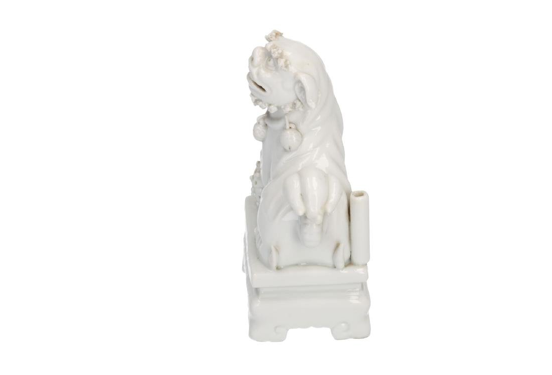 A pair of Blanc-de-Chine temple lions. Unmarked. China, - 2