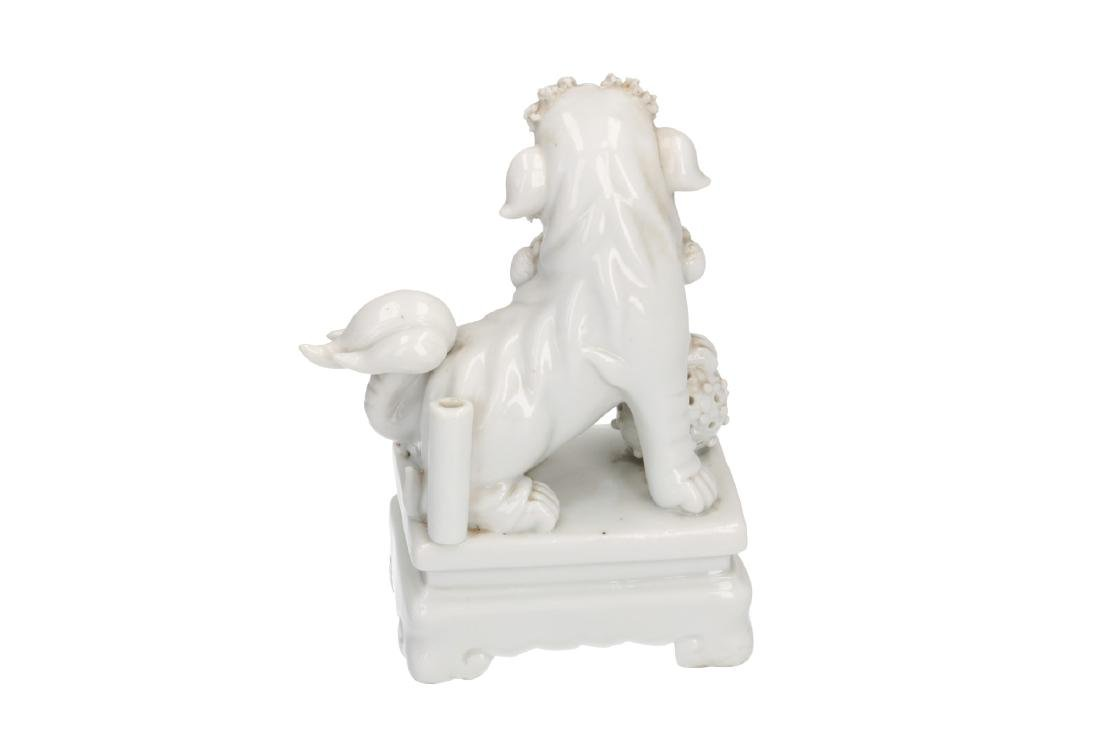 A pair of Blanc-de-Chine temple lions. Unmarked. China, - 3