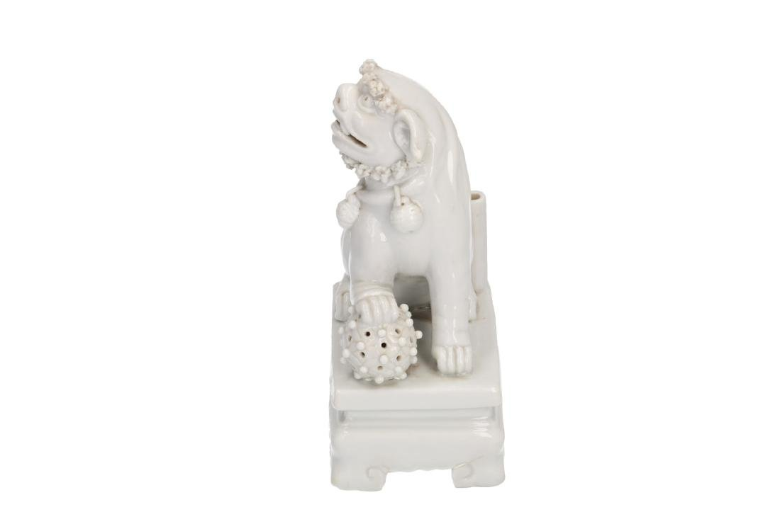 A pair of Blanc-de-Chine temple lions. Unmarked. China, - 8