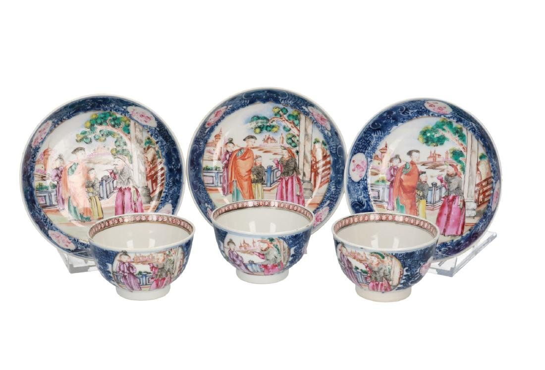 A lot of three polychrome porcelain Mandarin cups with