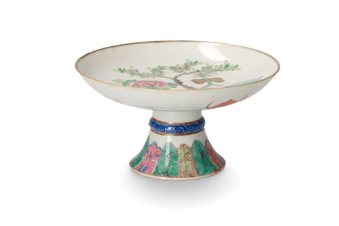 A polychrome porcelain tazza decorated with flowers and - 2