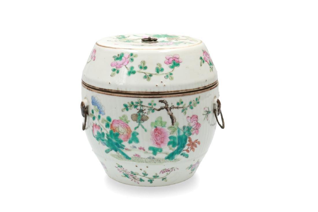 A polychrome porcelain lidded jar decorated with deer, - 2
