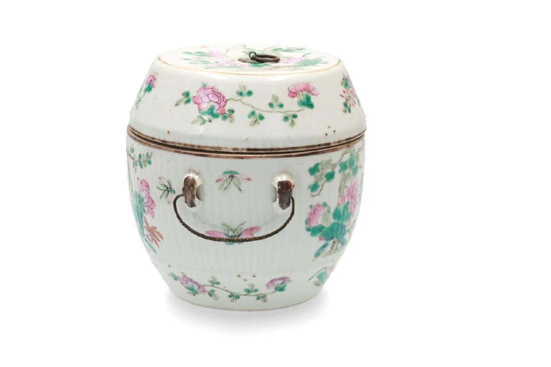 A polychrome porcelain lidded jar decorated with deer, - 3
