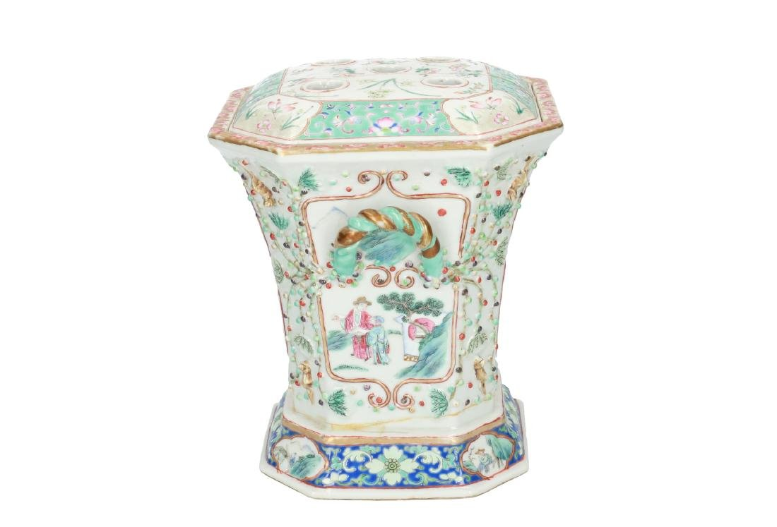 A polychrome porcelain octagonal insence burner with a - 2