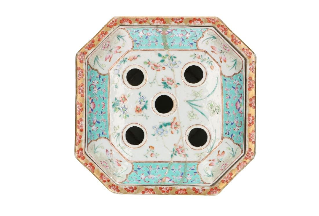 A polychrome porcelain octagonal insence burner with a - 5