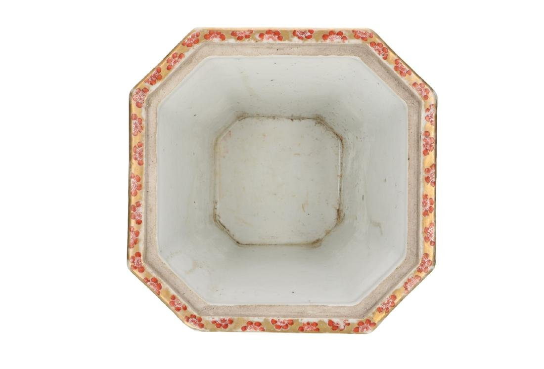 A polychrome porcelain octagonal insence burner with a - 6