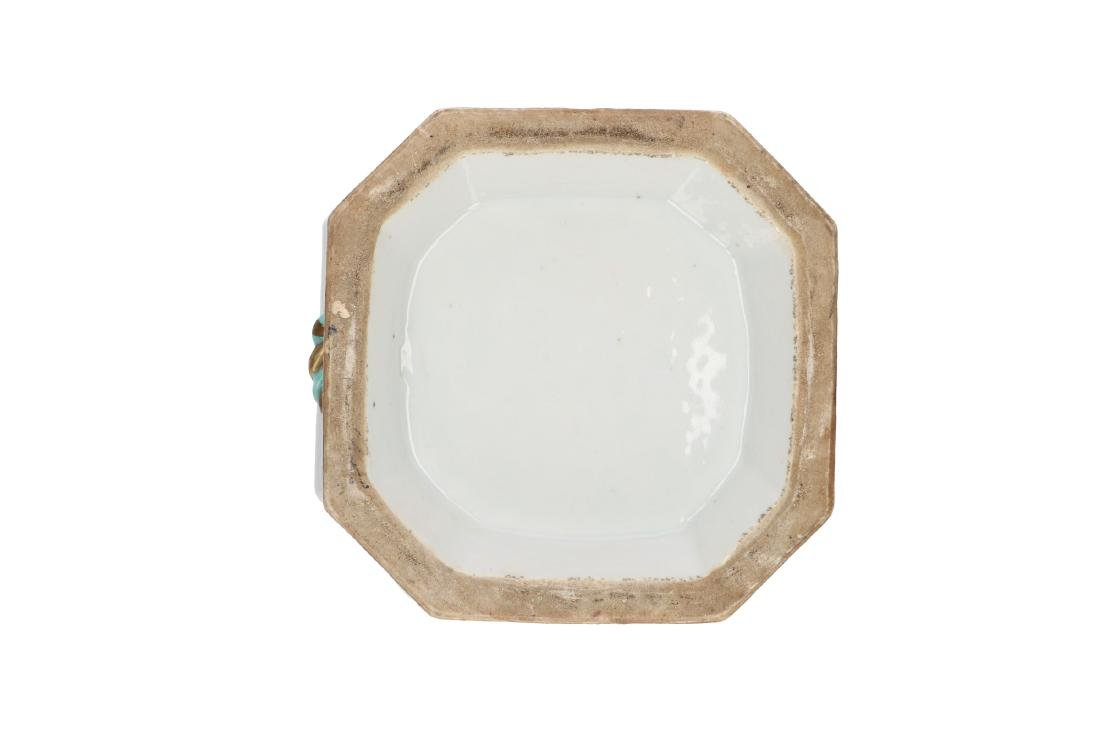 A polychrome porcelain octagonal insence burner with a - 7