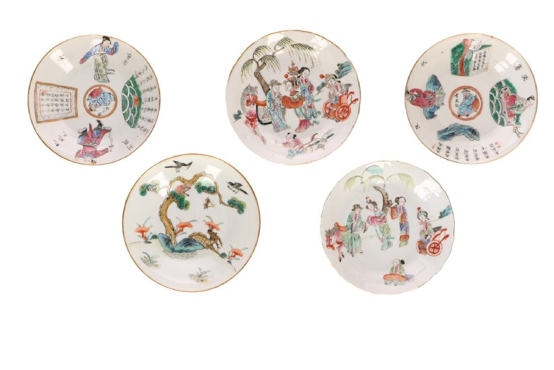 A lot with diverse polychrome porcelain items, of which - 4