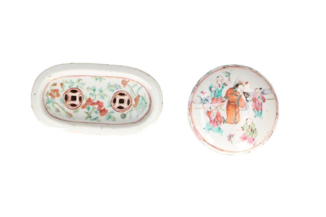 A lot of 10 diverse polychrome porcelain items, - 15