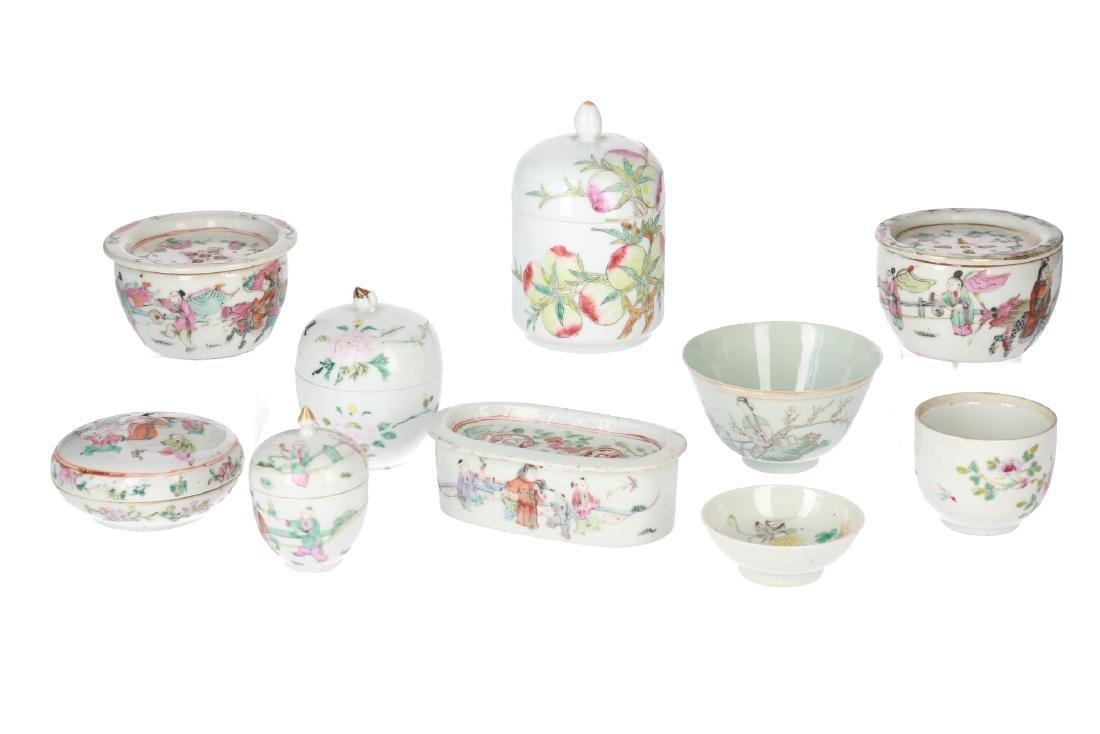A lot of 10 diverse polychrome porcelain items,