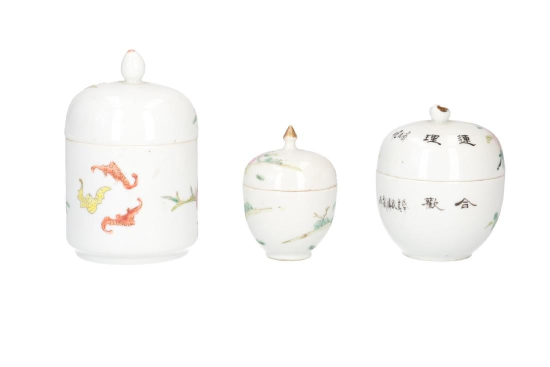 A lot of 10 diverse polychrome porcelain items, - 6