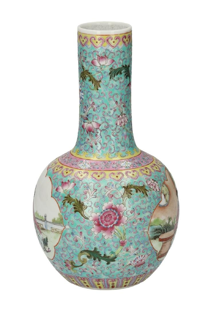 A polychrome porcelain vase decorated with figures in a