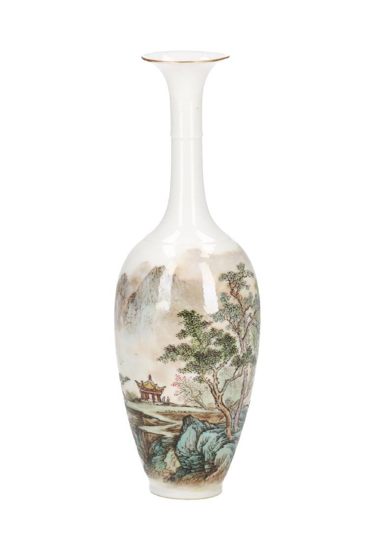 A polychrome eggshell porcelain long-neck vase