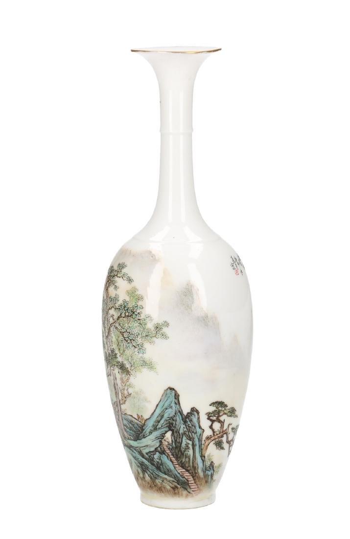 A polychrome eggshell porcelain long-neck vase - 2