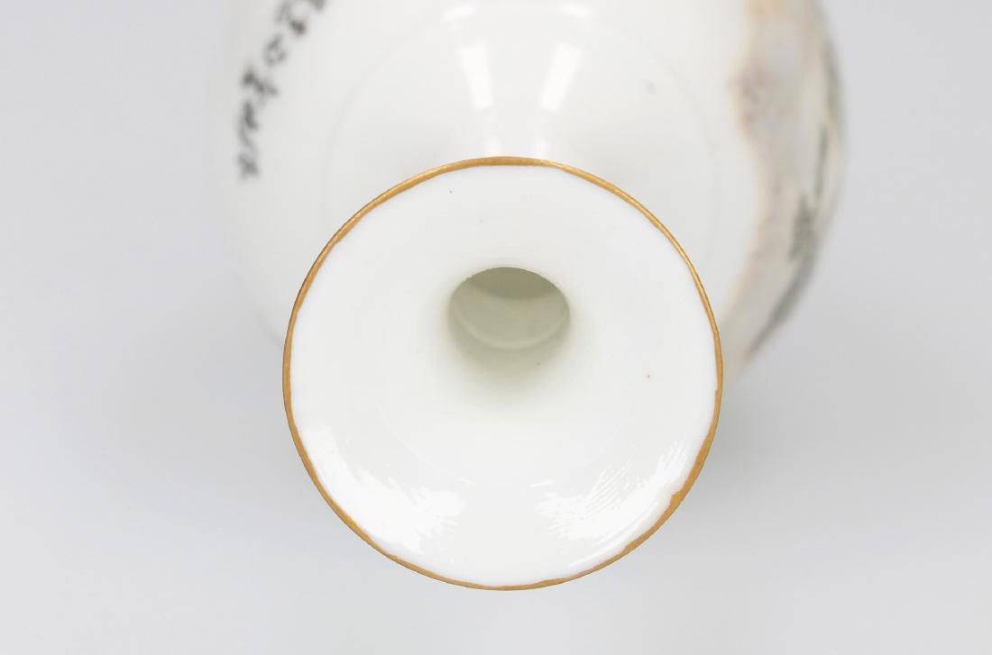 A polychrome eggshell porcelain long-neck vase - 4