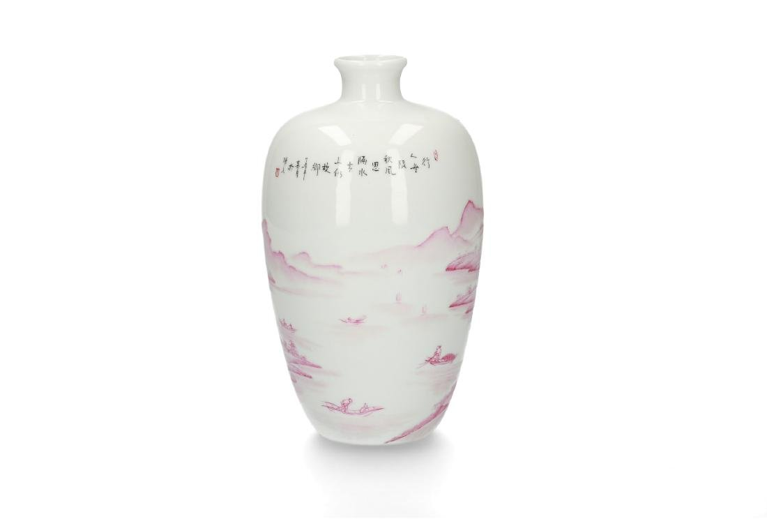 A pink and white porcelain vase with decor of a - 2