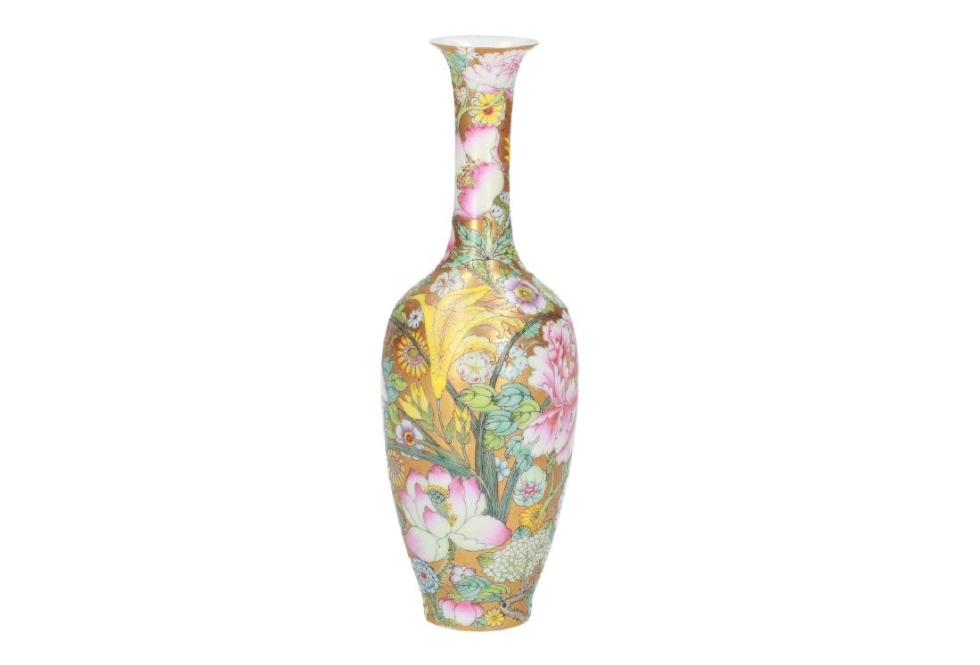 A Mille Fleurs eggshell porcelain vase. Marked with