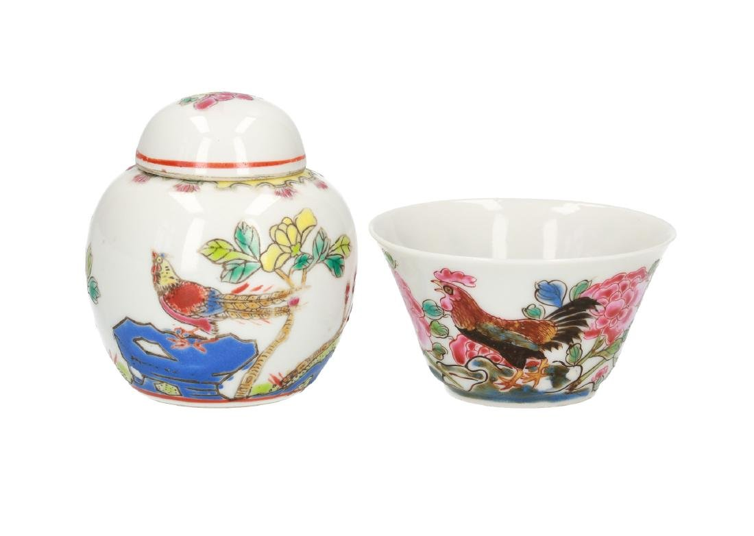 A polychrome porcelain chicken cup. Unmarked. China,