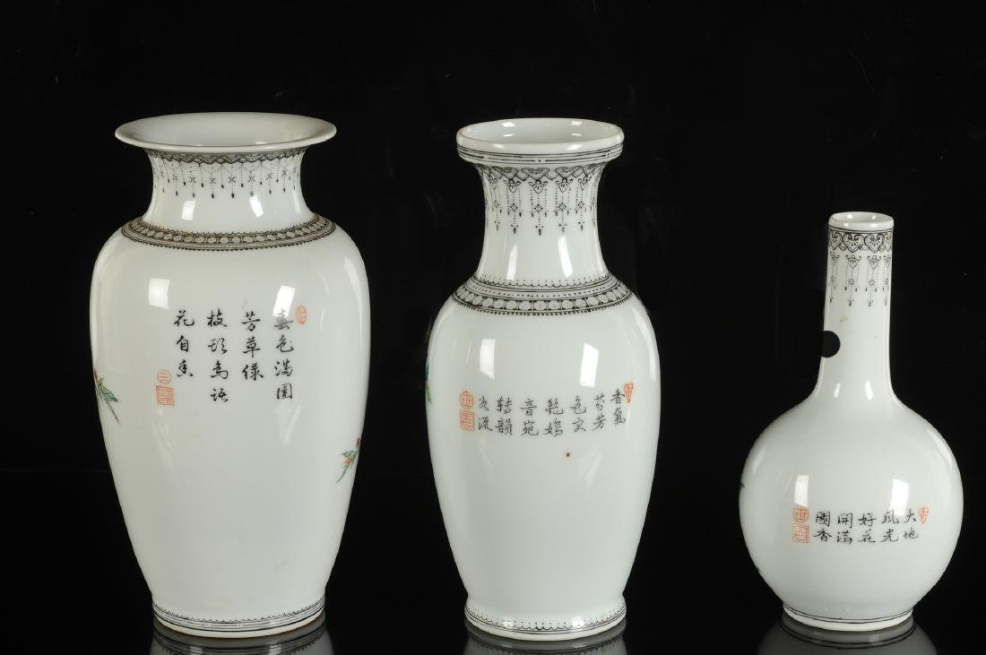 Three polychrome porcelain vases decorated with birds