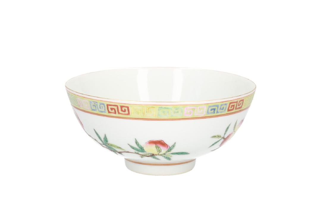 A polychrome porcelain bowl, decorated with peaches. - 2