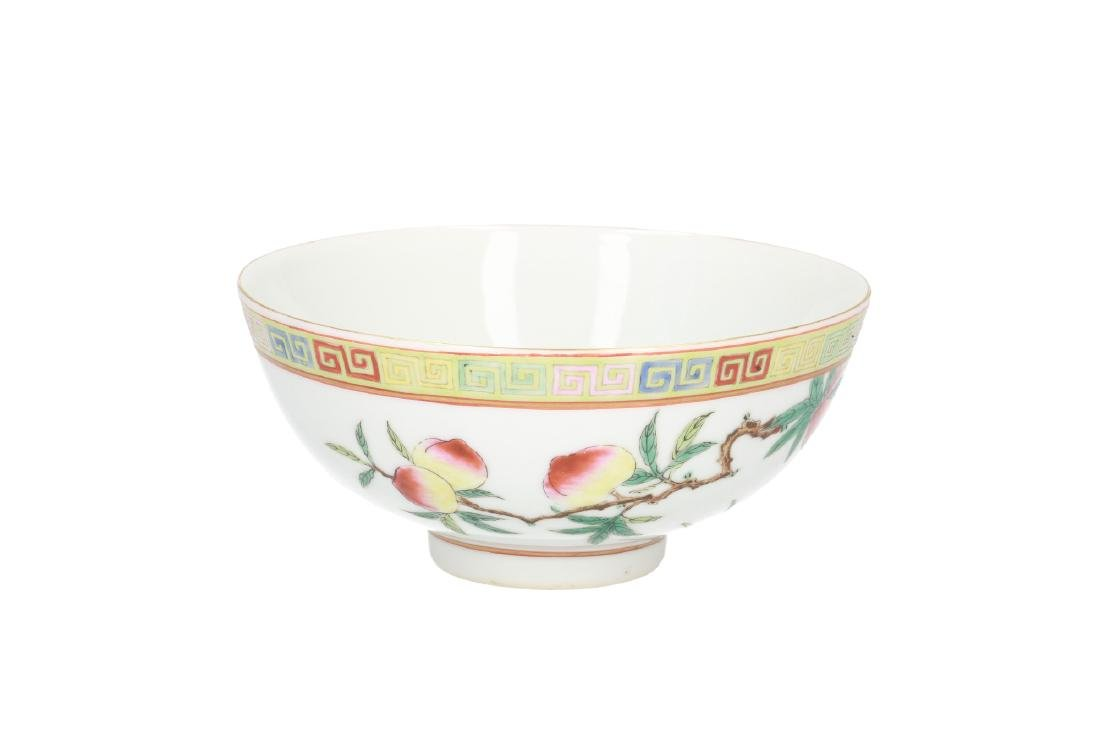A polychrome porcelain bowl, decorated with peaches. - 3
