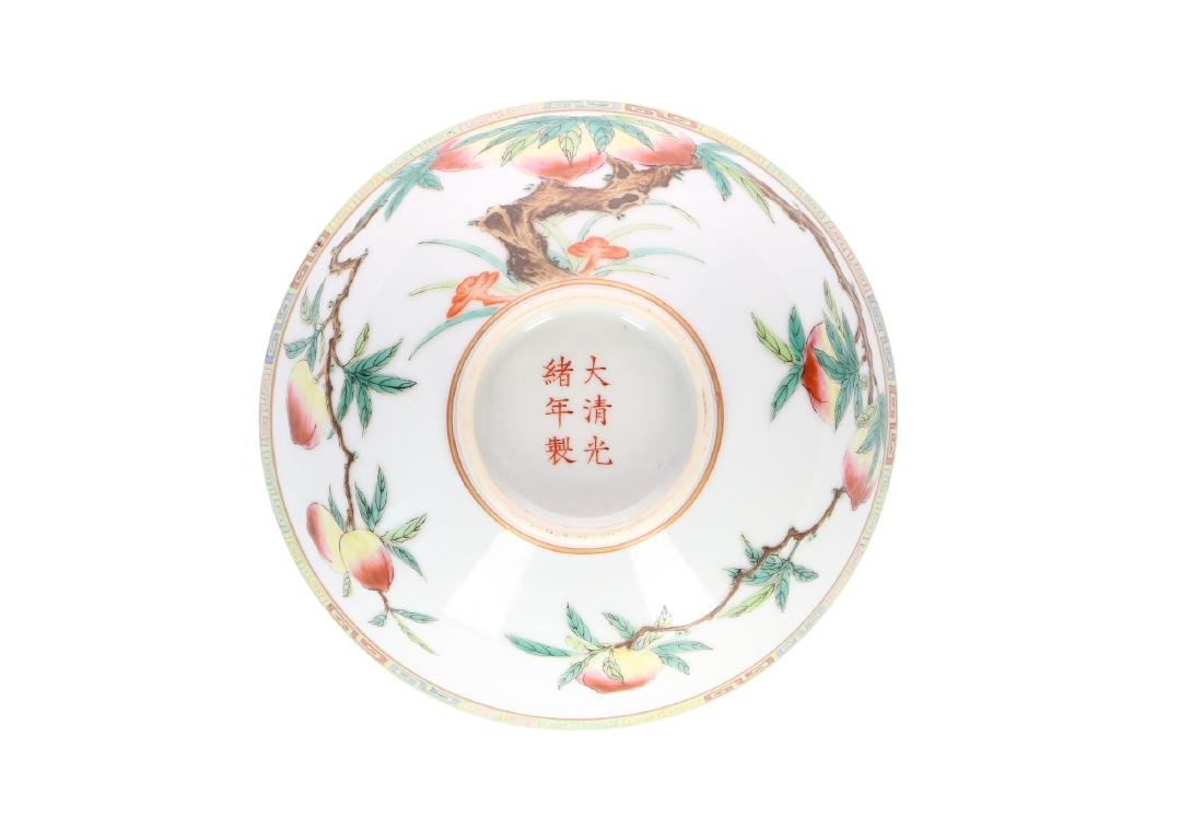 A polychrome porcelain bowl, decorated with peaches. - 5
