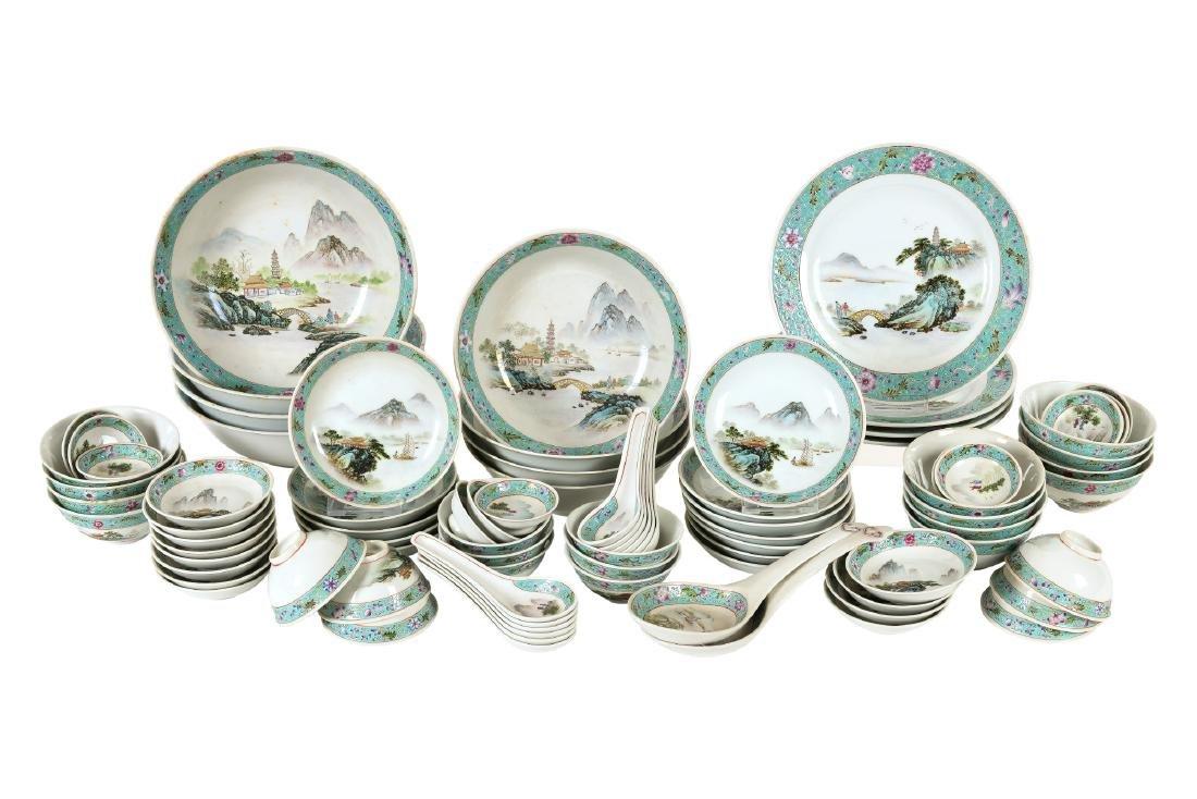 A ca. 86-piece polychrome porcelain service, including